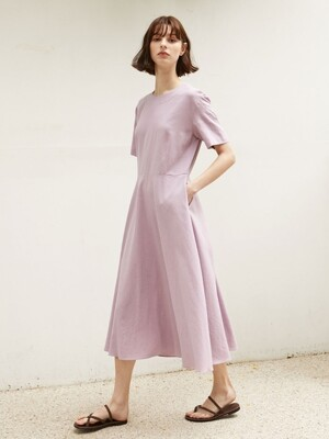 Linen Flared Dress - Lavender