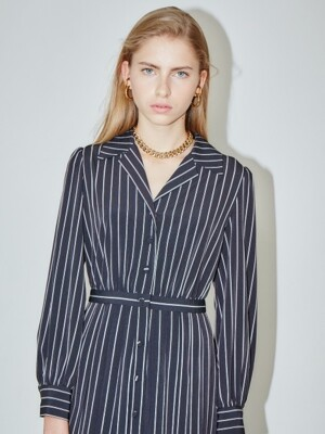 MILANO notched collar shirt dress (Black pin stripe)