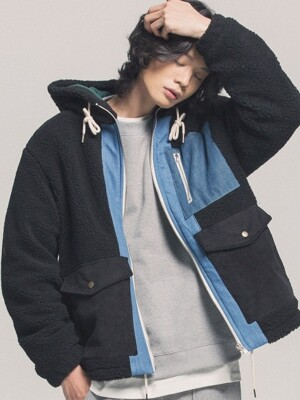 Heavy Fleece Mixed Parka (black)
