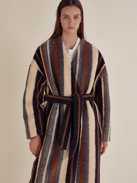 STRIPE FAUX SHEARLING ROBE COAT_MULTICOLOR