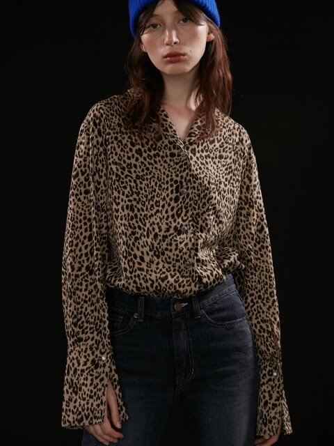 Shirts Leopard Pearl Button Brown