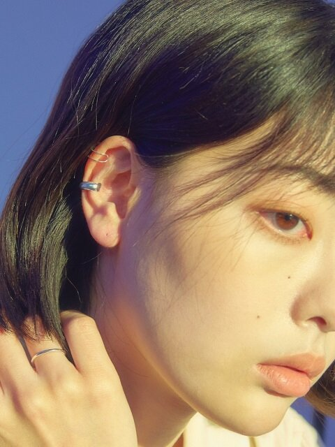 [SILVER] ROUND EARCUFF (2 COLORS)