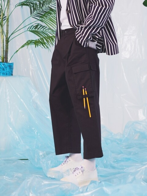 Chino wide cargo pants_BLACK