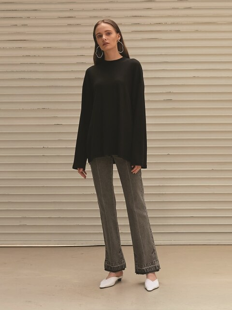 DENIM SLIM BOOTSCUT PANTS_BLACK
