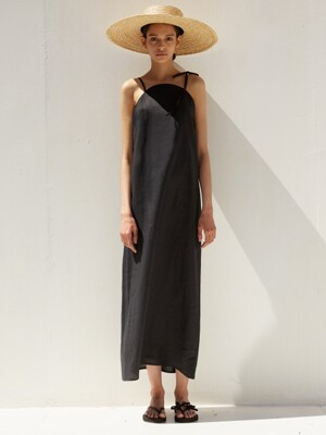 19 SS round linen long dress (black)