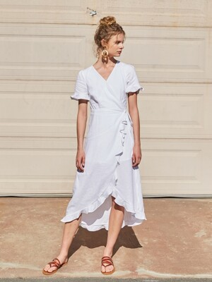 RUFFLED WRAP DRESS_OFF WHITE
