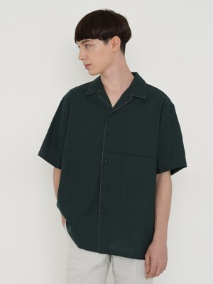 COTTON LINEN SHIRT_GREEN