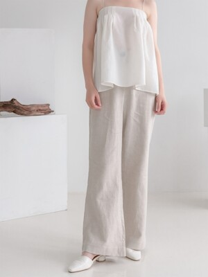 Semi Wide Linen Herringbone Slacks Beige