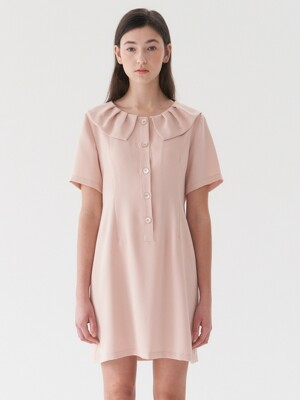 collar mini dress-beige
