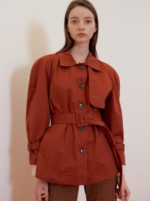VOLUME SLEEVE SHORT TRENCH RED