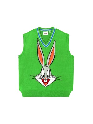 [FW19 Looney Tunes] Bugs Bunny Knit Vest(Green)