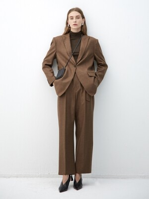 BROWN wool semi oversized blazer(KJ101)