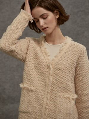wool tweed knit cardigan_light beige