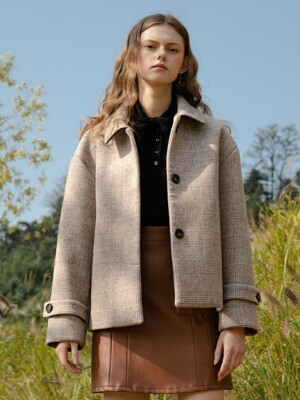 [단독] monts 1019 check half coat (brown check)