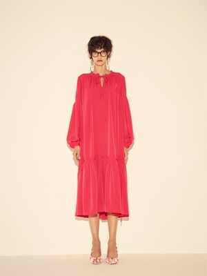 OVERSIZE SHIRRING LONG DRESS - PINK/BLACK