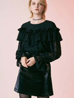 LACE FRILL BLOUSE_BLACK