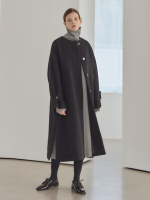 19WN collarless slit coat [BK]
