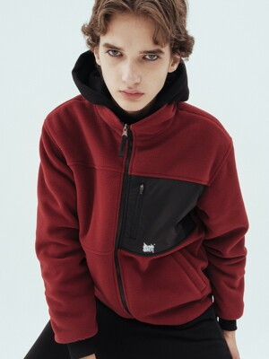 TAG REVERSIBLE FLEECE JACKET - BURGUNDY