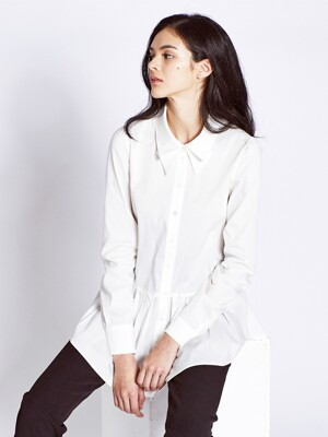 Collar Pleats Shirts Blouses_White