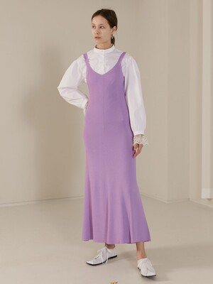 [TC20SSKN06]LONG AND LEAN KNIT SLIP DRESS [PURPLE]