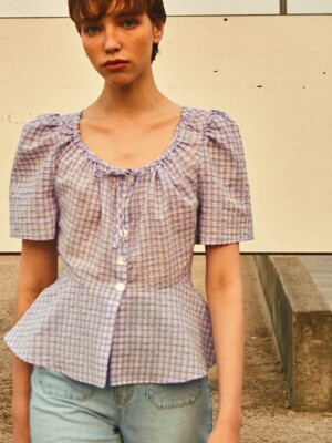 Ruched Neck Blouse_Lavender