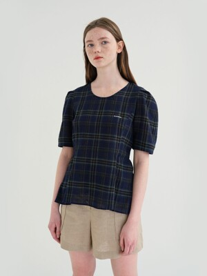 20' SUMMER_Check Cotton Flare Blouse