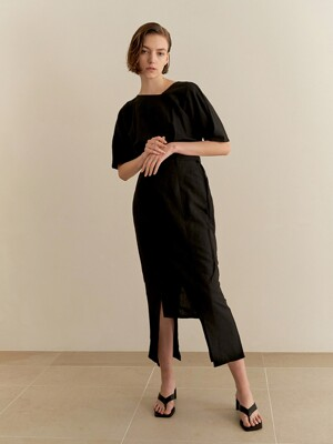 Belted square skirt - black