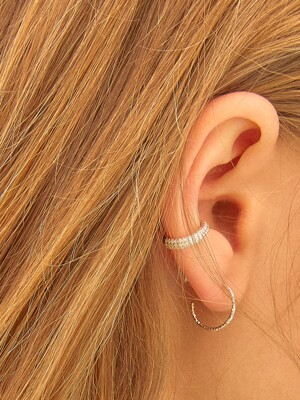 [SILVER] PAVE ROUND EARCUFF