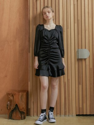 Love Shirring Dress_Black