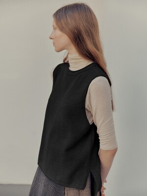 Back string knit vest_Black