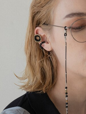 [2SET] Black -khaki check and Onyx earcuff