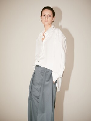LYES Oversized Double Collar Cotton-Poplin Shirt_Off White