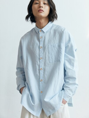 unisex short collar shirts blue