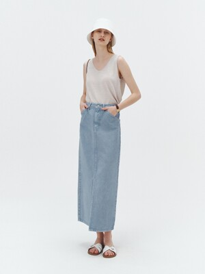 FRONT SLIT H-LINE LONG SKIRT WATER BLUE_UDSK1E211B2