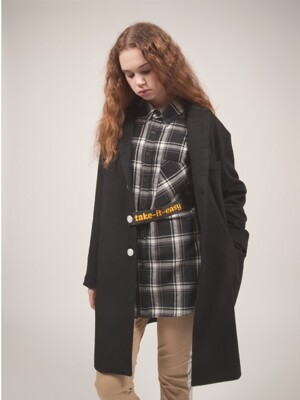 `take it easy` Oversized Single Coat_Black