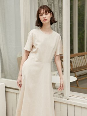 Linen Flared Dress - Beige