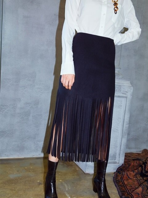 FRINGE WOOL SKIRT