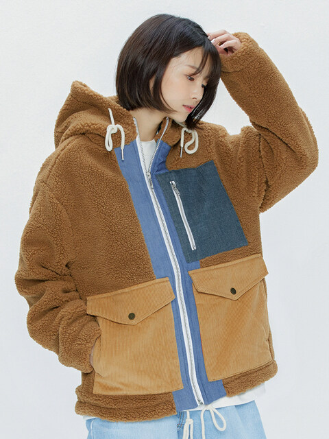 Heavy Fleece Mixed Parka (brown)