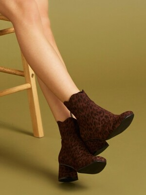 Daily Blossom Ankle Boots Leopard Dark Brown_0027