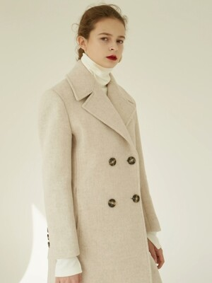 18FW DOUBLE LONG COAT OATMEAL