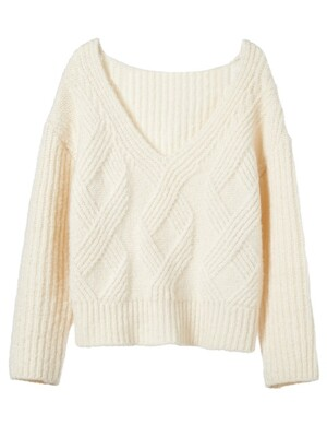 loose fisherman knit _ milk