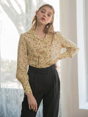 Open Collar Flower Blouse Yellow