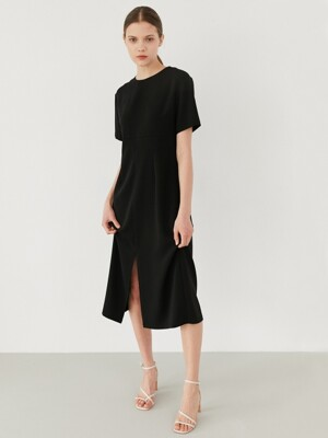 simple slit dress-black
