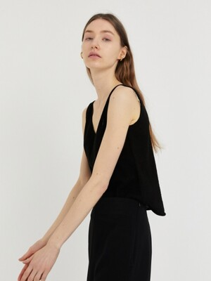 CLEAN V-NECK SLEEVELESS KNIT [BLACK]