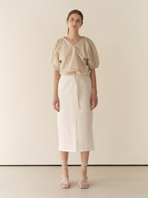 19RESORT LINEN BANDING SLIT SKIRT_2COLOR