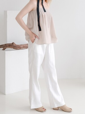Semi Wide Linen Herringbone Slacks White