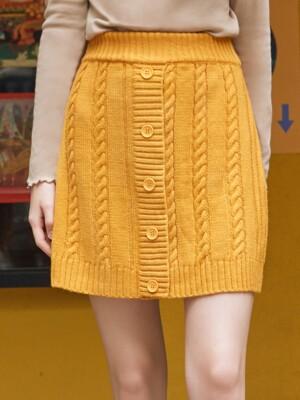 (SK-19531) BUTTON KNIT SKIRT MUSTARD