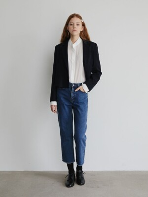 19' FALL_Navy Two-Button Crop Blazer