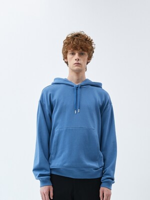 FINEST COTTON HOODIE-BLUE STONE