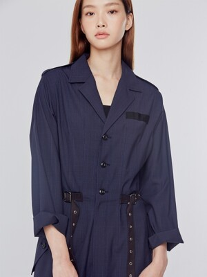 Navy Belt Detail Jumpsuit